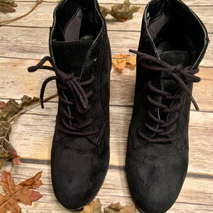 White Mountain Black Suede Sugarbabe Booties